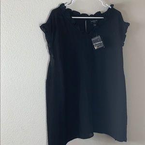 Liz Claiborne black sleeveless v neck ruffle top